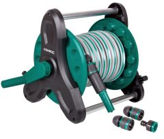 Hose reel with 10m hose | Incl. nozzle, couplings and tap connector
