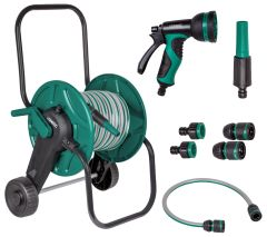 Hose trolley set with 20m garden hose   Incl. 3 nozzles and couplings